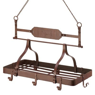 Cheap Rustic Western Country Cow Hanging Kitchen Pot Rack (D1160)