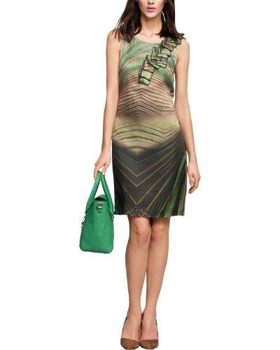 Comma Damen Kleid KURZ 81.403.82.2851, Mini, Gr. 40, Mehrfarbig (green AOP)