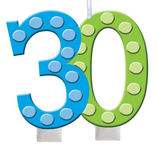 Creative Converting Bright and Bold 30th Birthday Molded Numeral Cake Candle