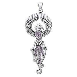 Sterling Silver Amethyst Winged Phoenix Rising Majestic Pendant 2-3/4