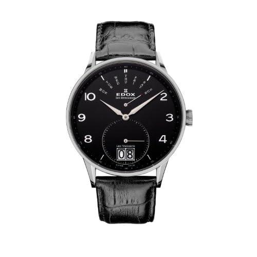 [エドックス] EDOX 腕時計 Les Vauberts Black Dial Black Leather Mens Watch 34005-3N-NBN クォーツ 34005 3N NBN [TimeKingバンド調節工具& HARP高級セーム革セット]【並行輸入品】