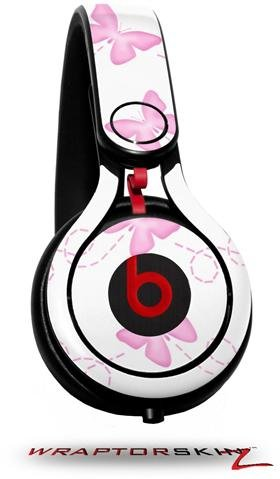 Pastel Butterflies Pink On White Decal Style Skin (Fits Genuine Beats Mixr Headphones - Headphones Not Included)