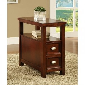 Light Cherry Chair Side Table With 1 Drawer By Poundex