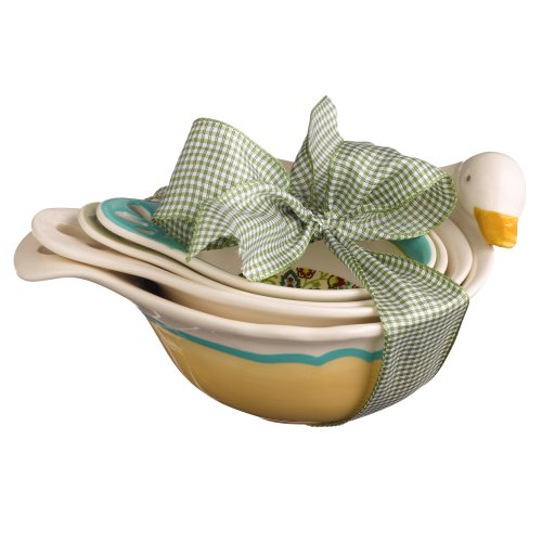 Grasslands Road 3-Pack Ceramic Spring Meadow Duck Nested Measuring Bowls, 7-Inch, Set Of 4