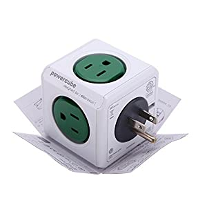 Allocacoc 5 Outlet Wifi Power Plug US Socket Wireless Smart Home Office Travel Automation PowerCube Module Square Cube Green