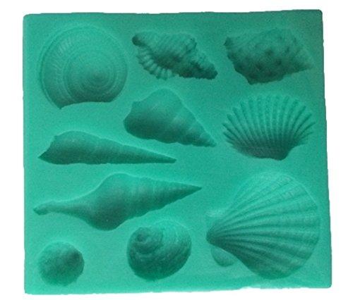本格的 貝がら シェル 10 種類 シリコン モールド 成形 型 (ブルー)