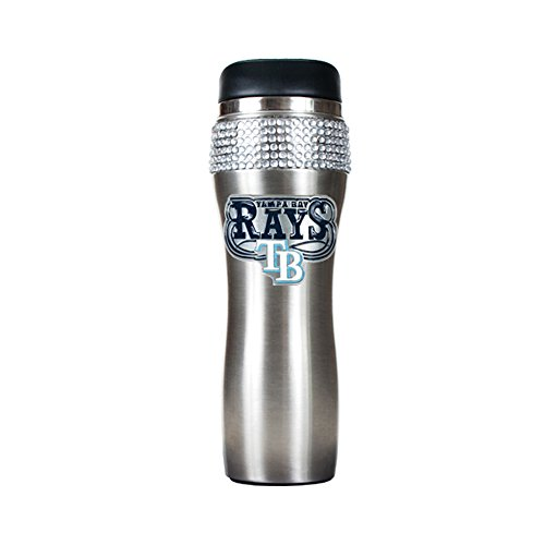 Great American Product MLB Tampa Bay Rays 14oz Stainless Steel Bling Travel Tumbler Stainless Steel Silver