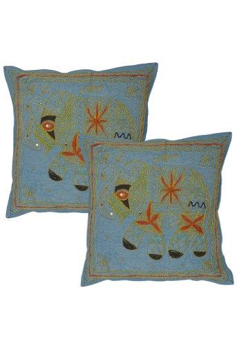 Imagen 1 de Cojín Elefante hecho a mano cubre con Zari y bordado Tamaño trabajar 16 x 16 pulgadas Juego de 2 piezas