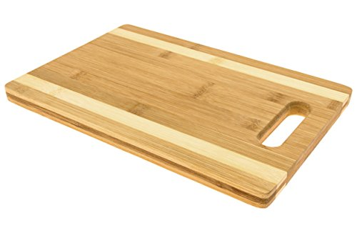 Blue Leaf Bamboo Cutting Board (12 inch x 8 inch) - Antimicrobial Chopping Block Wood - Food Prep Safe on Knives, Cleavers, Utensils - Cut Meat, Poultry, Vegetables & Bread (Bamboo Leaf Cheese Board compare prices)