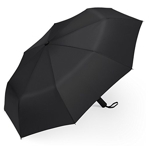 PLEMO Classic Black Automatic Folding Travel Umbrella image