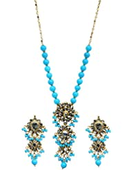 Exotic India Cyan Blue Kundan Beaded Necklace Set With Earrings - Copper Alloy