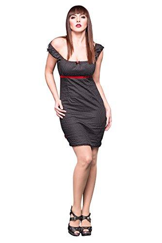 queen of darkness rockabilly minikleid mit punkten und rotem samtband. Black Bedroom Furniture Sets. Home Design Ideas