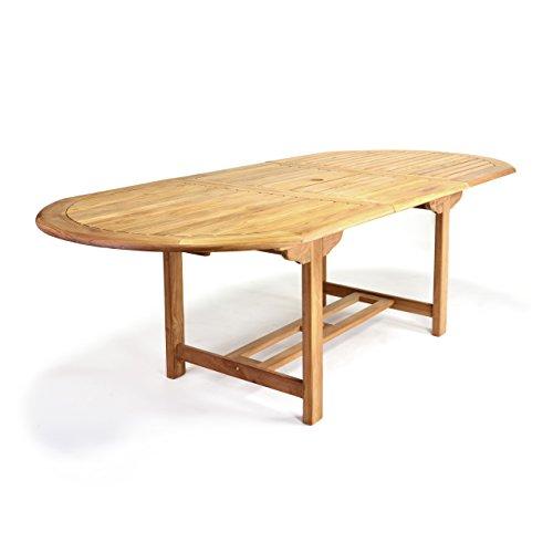 GL05525 Großer ovaler ausziehbarer Gartentisch Esstisch Balkontisch Holz Teak Tisch für Terrasse Balkon Wintergarten witterungsbeständig behandelt massiv 170 / 230 cm natur