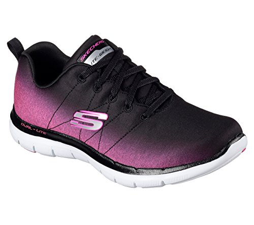 Skechers Flex Appeal 2.0 Ombre Womens Sneakers Black/Hot Pink 8.5
