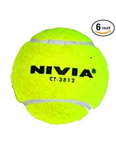 Nivia Heavy Tennis Ball Cricket Ball (Pack of 6), Yellow