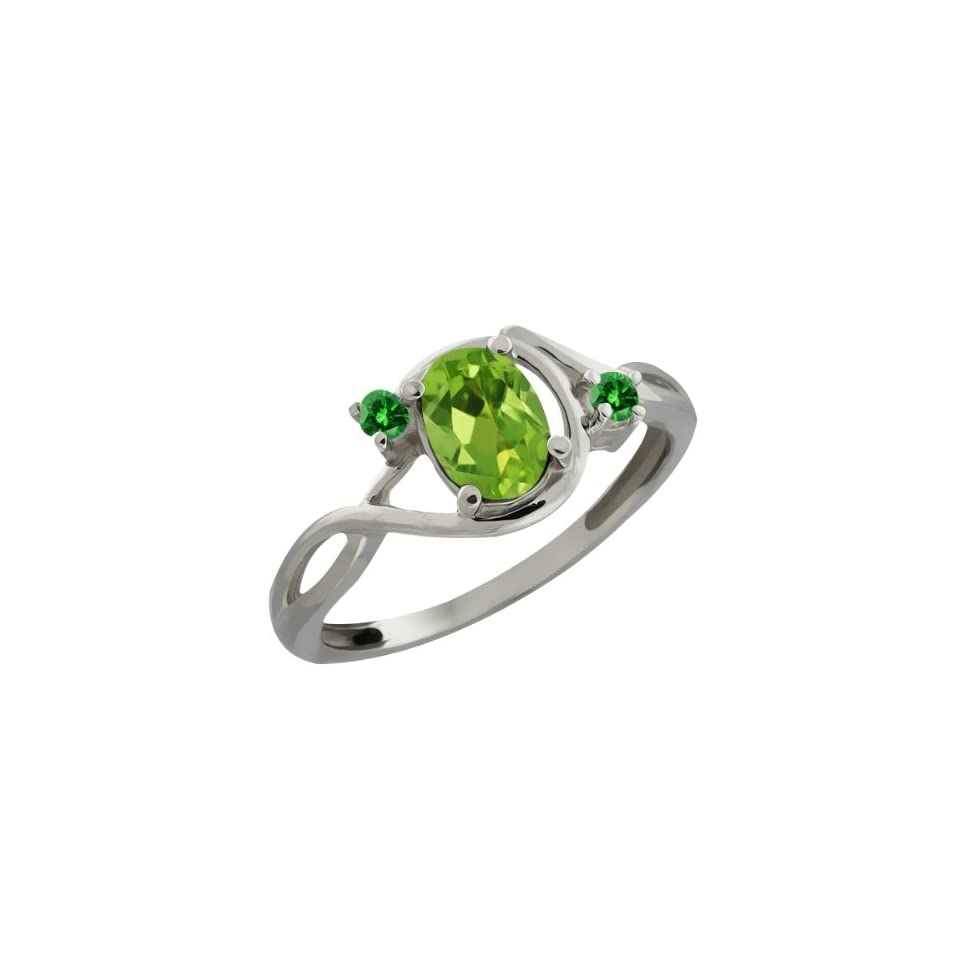 0.86 Ct Oval Green Peridot and Green Diamond Sterling Silver Ring