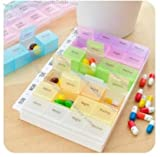7 Day Pill Box with Tray, Medication Organizer Planner - 7 Days, 3 Times a Day with Backup Storage Compartment for Emergency Storage