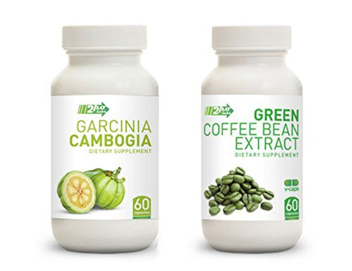 Set Of Garcinia Cambogia Extract And Pure Green Coffee Bean Extract, 60 Capsules Each - Guaranteed Weight Loss Supplement Pills For Men And Women!