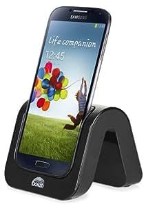 DONZO® SUPER WAVE USB Dockingstation für Samsung Galaxy S4 IV GT-I9500 / GT-I9505 + USB Datenkabel + Ladegerät Netzteil - schwarz
