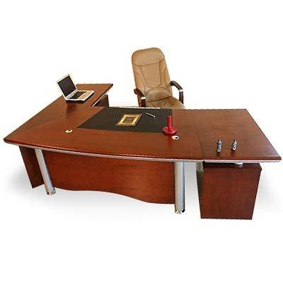Bueromoebel Büroausstattung Chef Schreibtisch Berlin 2,6 m x 1,8 m x 0,76 m (Höhe) XXL Echtholz Kirschbaum von JetLine Picture