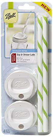 Ball 1440015000 Regular Mouth Mason Sip and Straw Lids