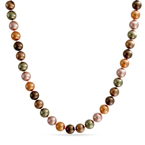 Bling Jewelry A Grade 10mm Round South Sea Shell Multicolor Pearl Necklace 18in