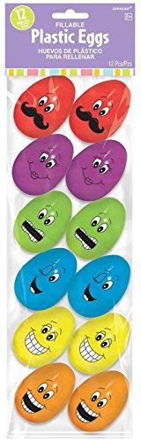 """Amscam Funny Face Plastic Small Eggs, 2 1/4"""", Multicolor"""