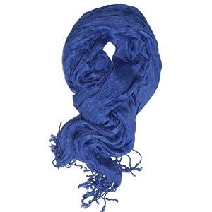 LibbySue-Essential Solid Crinkle Scarf in Cobalt Blue