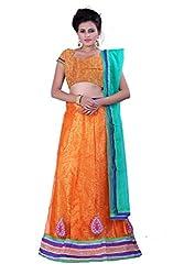 Sonika Orange & Green Net 3 Piece Lehenga Choli