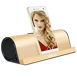 LuguLake II Charge 10Watt Wireless Bluetooth Speaker Built-in 4000mAh Battery Pack w/Alumium Stand for iPhone 6, Galaxy S6, iPad, Nexus and Others - Gold