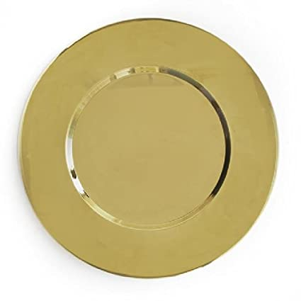Gold Metal Round Charger Plate by Charge It by Jay