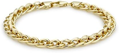 Carissima Gold 9 ct Yellow Gold Diamond Cut Rollerball Bracelet of 19 cm/7.5-inch