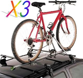 3 X Aluminum Upright Car Suv Roof Bike Bicycle Rack Carrier W/Lock (For 3 Bikes) front-187635