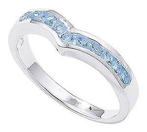 Unique Wishlist Sterling Silver Blue Topaz Wishbone Ring - J