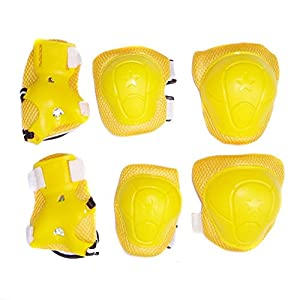 Crazycity Kid's Roller Blading Wrist Elbow Knee Pads Blades Guard 6 PCS Set (star yellow)