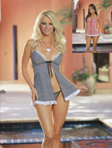 Dreamgirl Gingham tie front sleepwear babydoll with eyelet Lace trim