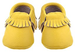 Sayoyo Baby Yellow Tassels Soft Sole Leather Infant Toddler Prewalker Shoes (6-12 months, Yellow)