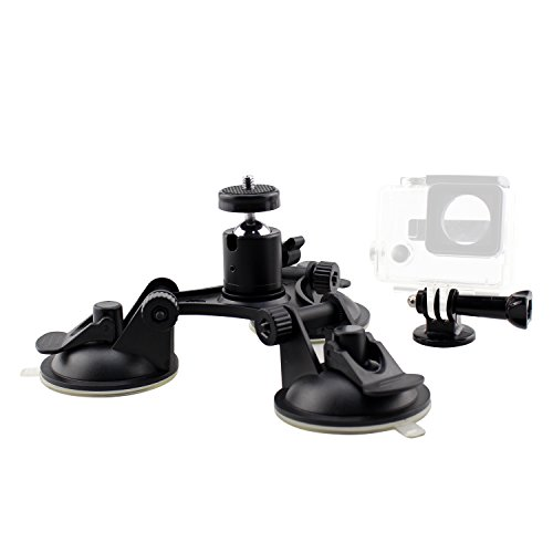 SIM&NAT Professional Triple Cup Suction Mount for Gopro Hero 5 4 Session 3+ 3,Firm 3 Sucker Suction Cup Mount for Car Window Windshield with Tripod mount and 360 Degree Tripod Ball Head Mount,Black