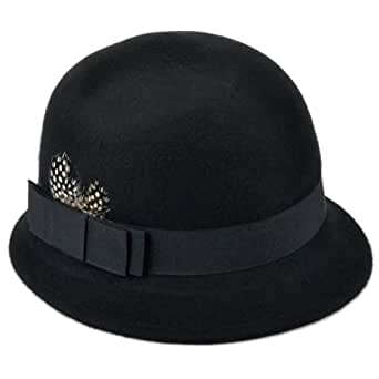 Ladies cloche bell wool felt hat black with side feather and band short brim