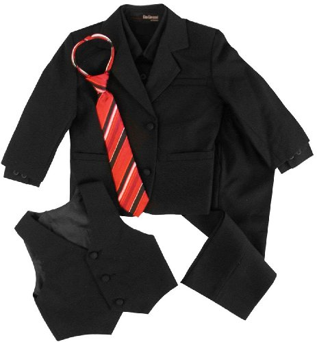 G190 Black/Red Formal Boys Kids Dress Suit Baby To Teen (2T, Black/Red)