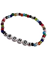 HH Jewellery ADHD Slim Multi-Colour Seed Glass Bead Elastic Bracelet with White Letter Beads