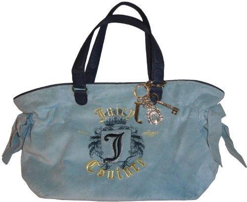 Women's Juicy Couture Purse Handbag Bella Tote Golden Juicy Light Blue