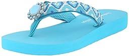 Lindsay Phillips Women\'s Lulu Flat Sandal, Scuba Blue, 6 M US