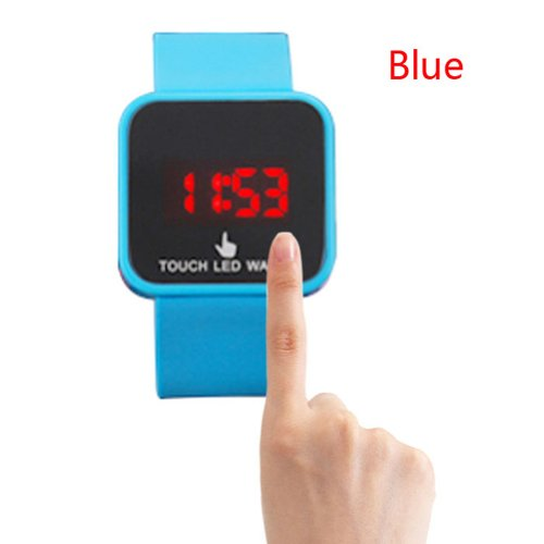 Hotportgift Color Storm Men Lady Mirror Led Date Day Silicone Rubber Band Digital Watch (Sky Blue)