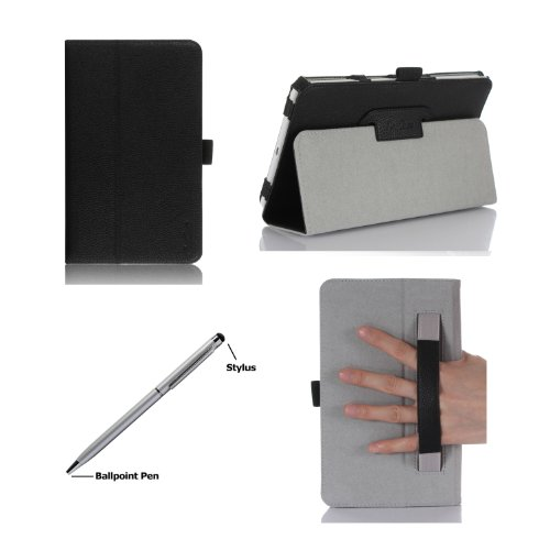 ProCase Folio Case with Stand for Samsung Galaxy Tab 4 8.0 Tablet 2014 ( 8 inch Tab 4, SM-T330 / T331 / T335), with Auto Sleep/Wake feature, bonus stylus pen included (Black)