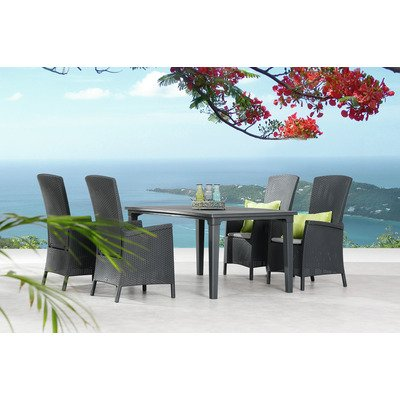 BEST 96350056 Tischgruppe 5-teilig TGR Capri und Genua, graphit / hellgrau