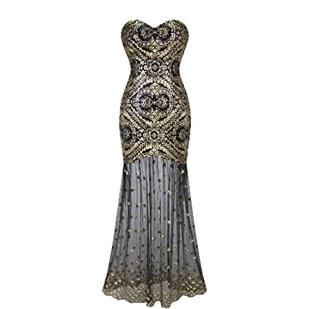 Sleeveless V-Neck Sequins Lace Up Back Evening Dress