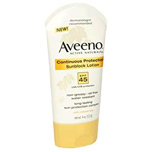 Aveeno Active Naturals Continuous Protection Sunblock Lotion, SPF-45, 4-Ounce Tubes (Pack of 2)