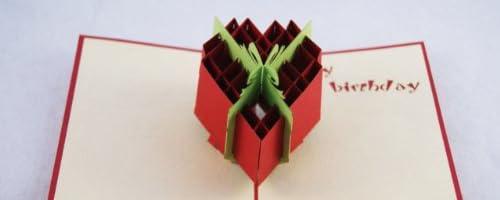 全100種以上!立体ポップアップ グリーティングカード立体ハートボックス T-005R  誕生日カード (赤) ギフトカード バースデイ お祝いカード