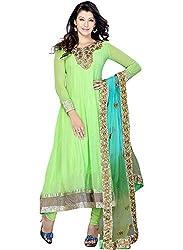 Kashish Lifestyle Women's Bamber Foliage Anarkali Suit ( SFPRIYAM507-Light Green-Free Size)